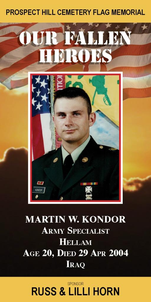 Our Fallen Heroes Banner: Martin Kondor   Little Finch Designs