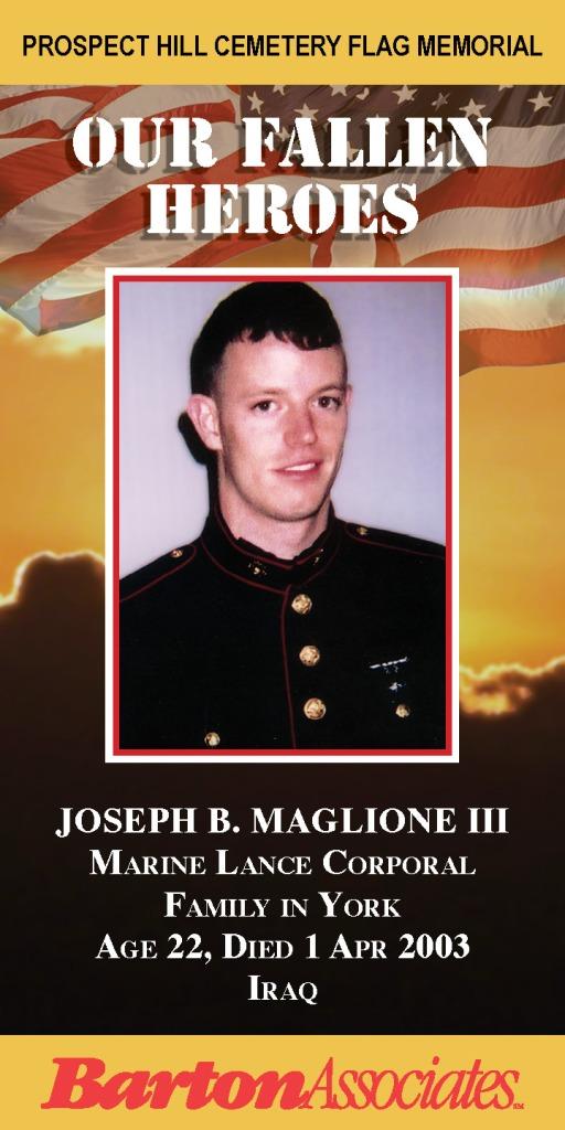 Our Fallen Heroes Banner: Joseph Maglione   Little Finch Designs
