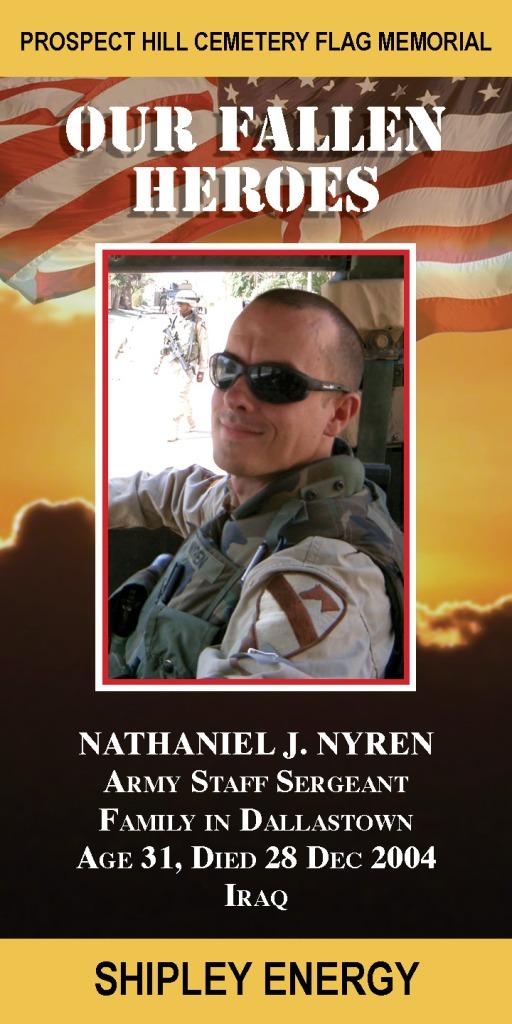 Our Fallen Heroes Banner: Nathaniel Nyren   Little Finch Designs