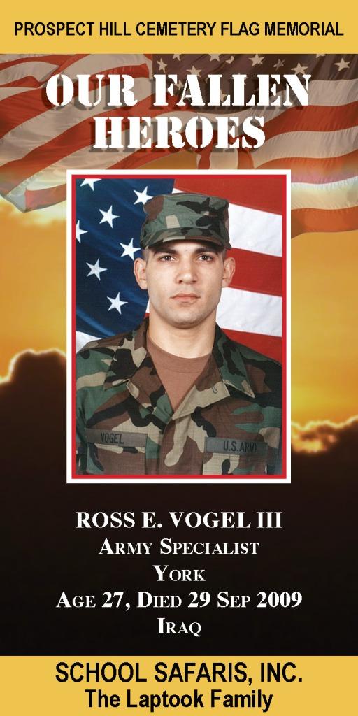 Our Fallen Heroes Banner: Ross Vogel III   Little Finch Designs