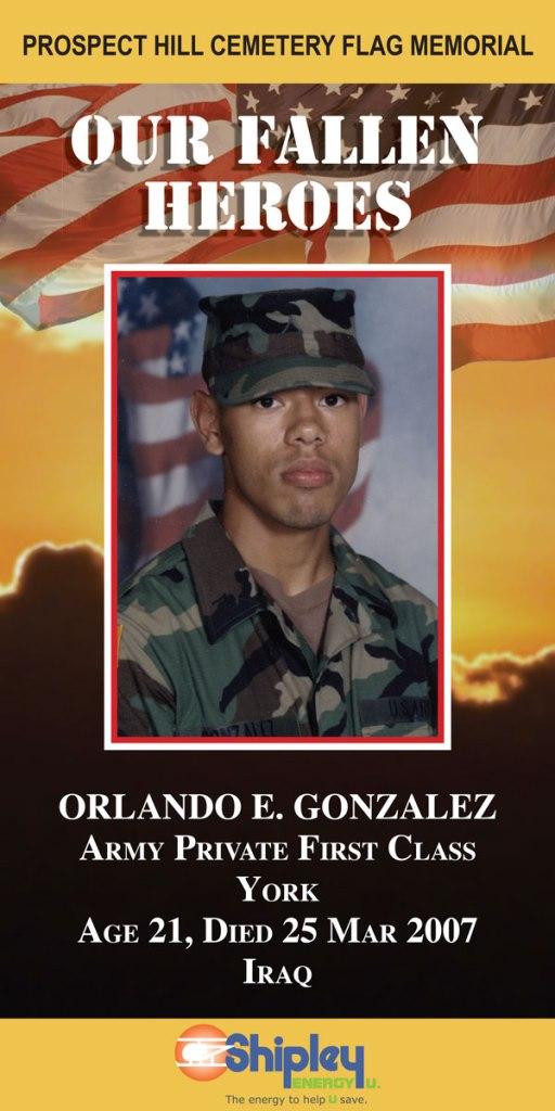 Our Fallen Heroes Banner: Orlando Gonzalez   Little Finch Designs